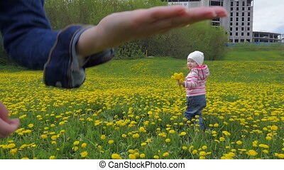 The child walks in the park and collects flowers, dandelions. Slow motion