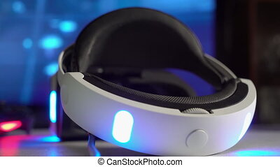 Virtual reality VR headset and wireless gaming controller in...