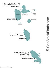Guadeloupe, Dominica, Martinique political map with capitals...