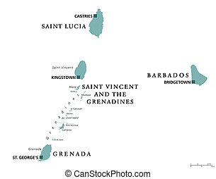 Barbados, Grenada, Saint Lucia, Saint Vincent political map...