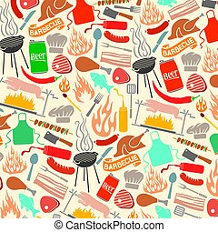 background pattern with barbecue and food icons