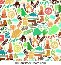 background pattern with camping icons