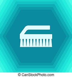 Cleaning brush - Vector flat cleaning brush icon on...