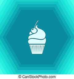 Vector cupcake with cherry icon