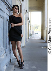 City portrait - City Portrait of the beautiful woman in a...