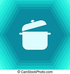 saucepan icon - Vector flat saucepan icon on hexagonal...