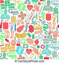 background pattern with medical icons (snake and bowl symbol, adhesive bandage, nurse cap, broken human leg, blood donation bag, dna strand,  first aid kit, mask, heart, stethoscope, crutch)