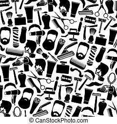 background pattern with barber salon or shop icons (shaving...