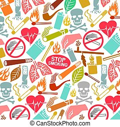 Background pattern with smoking icons (native american peace...