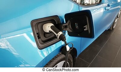 Electric automobile is charged with energy in Europe and...