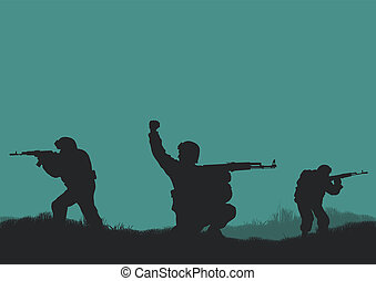 Four soldiers on a background a sun