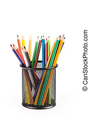 color pencils in metal pot isolated - color pencils in metal...