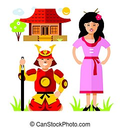 Vector Japan Samurai. Flat style colorful Cartoon...