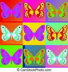 Pop art Andy Warhol background with butterflies.eps - Set of...