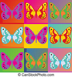 Set of colored butterflies  Pop Art Andy Warhol