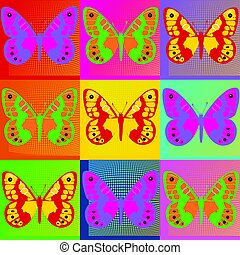 Pop art Andy Warhol background with butterfly.eps - Set of...