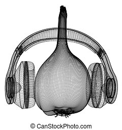 Head of garlic with headphones on a white background. 3D illustration