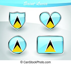 Glossy Saint Lucia flag icon set with shield, heart, circle...