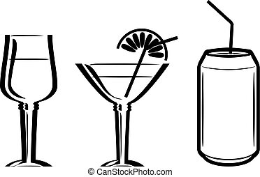 Beverages. Three icons for the menu design. Vector...
