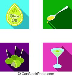 Label of olive oil, spoon with a drop, olives on sticks, a glass of alcohol. Olives set collection icons in flat style vector symbol stock illustration web.