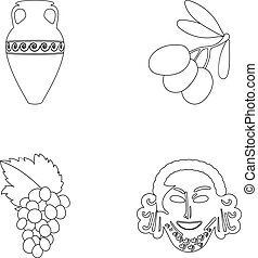 Greece, olive, branch, vase .Greece set collection icons in outline style vector symbol stock illustration web.