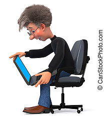 3d illustration funny student in glasses sitting in chair