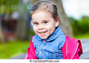 Portriat of cute little smilling girl - Portriat of cute...