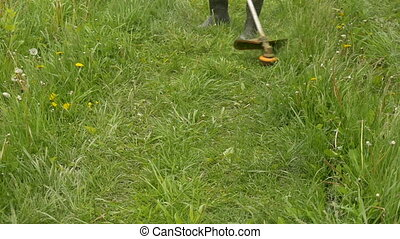 A man mowing the grass in the garden Slow Motion