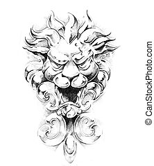 Sketch of tattoo art, gargoyle