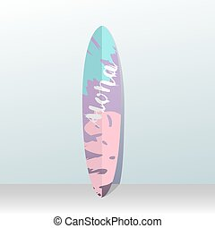 Surfboard. Picture of a palm tree