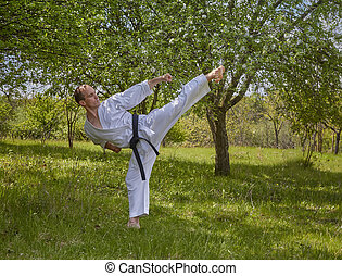 A high kick athlete strikes the against the background of...