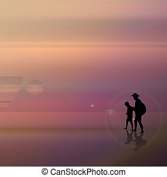 A fabulous sunset on the sea. Father and son