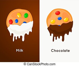 Biscuit cookie with colorful candies dunks in chocolate...