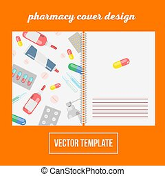 Cover design for print with pharma and pills, vector...