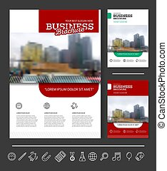 Company flyer vector illustration. Front page and back page...