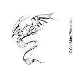 入れ墨, スケッチ, 芸術, ドラゴン
