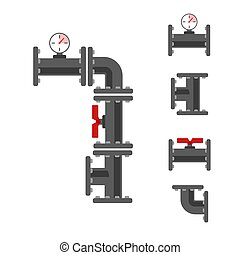 Pipe connector vector set. Pipeline vector illustration