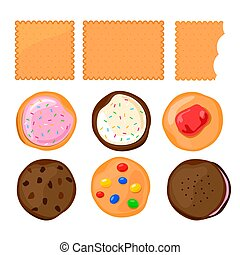 Biscuit ?ookie with colorful candies or jam set on white...