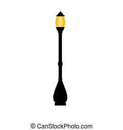 Vector vintage streetlight on white background. Outdoor...