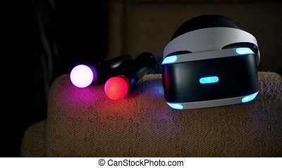 Virtual reality VR headset and move motion controllers for...