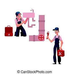 Plumbing specialist, plumber repairing kitchen sink, wash...