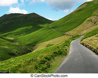 Mountain road with beautiful hills