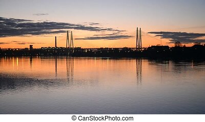 Cable-stayed bridge at sunset. - The Great Obukhov...