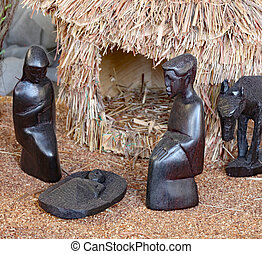 Nativity scene with the holy family from Tanzania - Nativity...