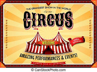 Vintage Grand Circus Poster With Marquee - Illustration of a...