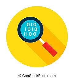 Data Search Flat Circle Icon