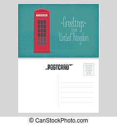 Postcard from Great Britain vector illustration with red...