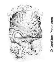 Esboço, tatuagem, arte, dragão