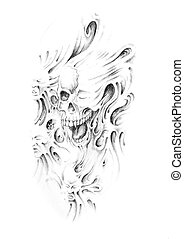 Sketch of tattoo art, monster