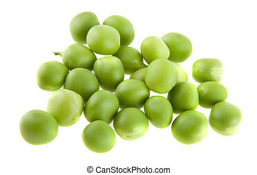 green pea isolated on white background closeup